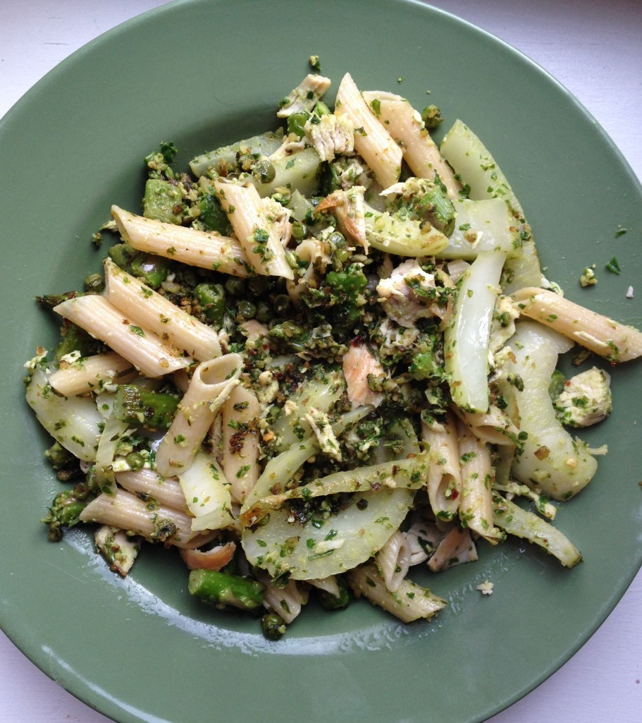 cow crumbs, gluten free, dairy free, parsley pesto, delicious detox, fennel, asparagus