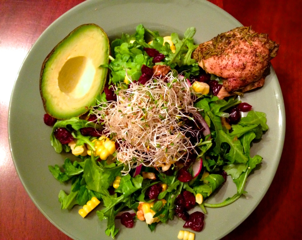 cow crumbs, gluten free, dairy free, paleo, fall harvest salad, cranberries, corn, chicken thighs, thanksgiving salad, holiday healthy meals