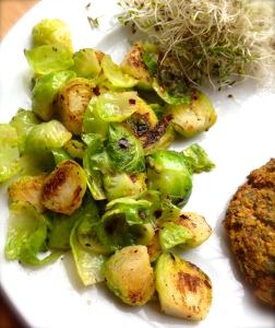 cow crumbs, gluten free, dairy free, chickpeas, vegan, falafel burger, brussel sprouts