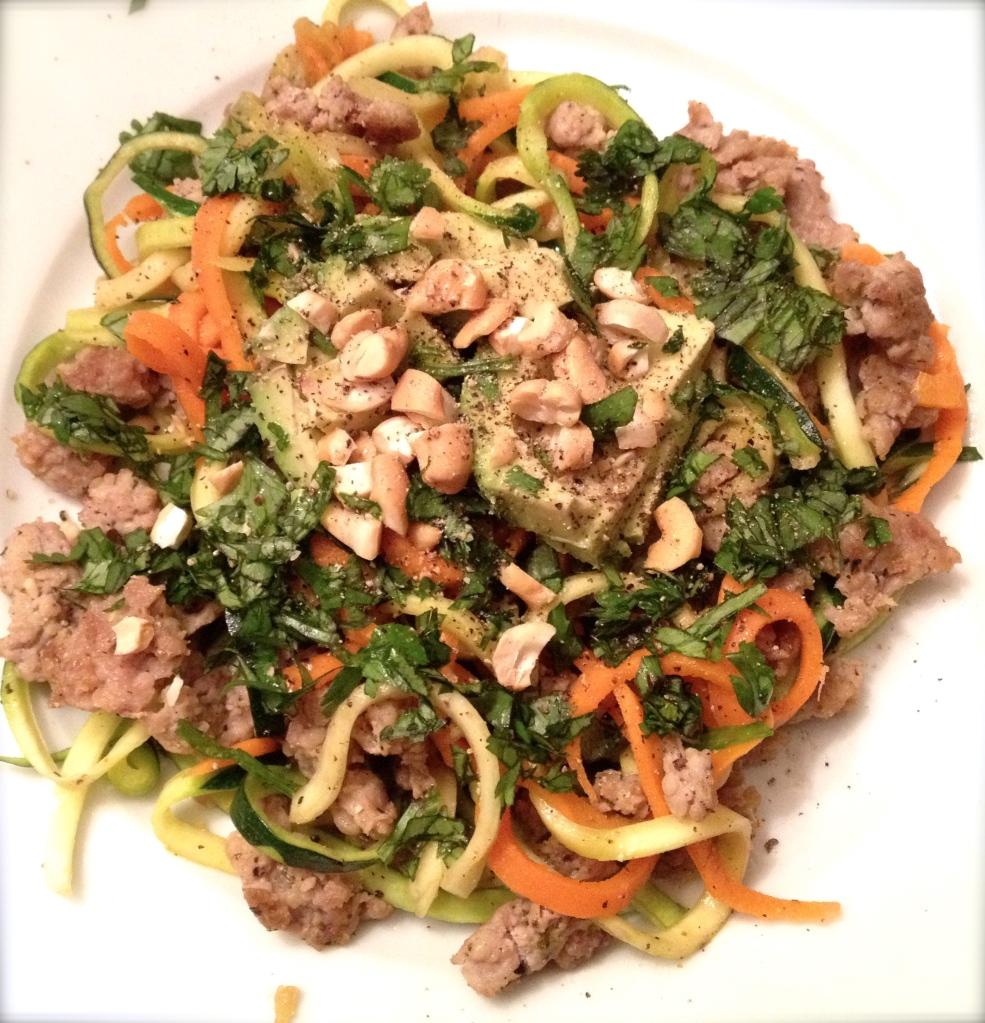 cow crumbs, gluten free, dairy free, paleo, zucchini noodles, thai chicken stir-fry, no noodle thai stir-fry