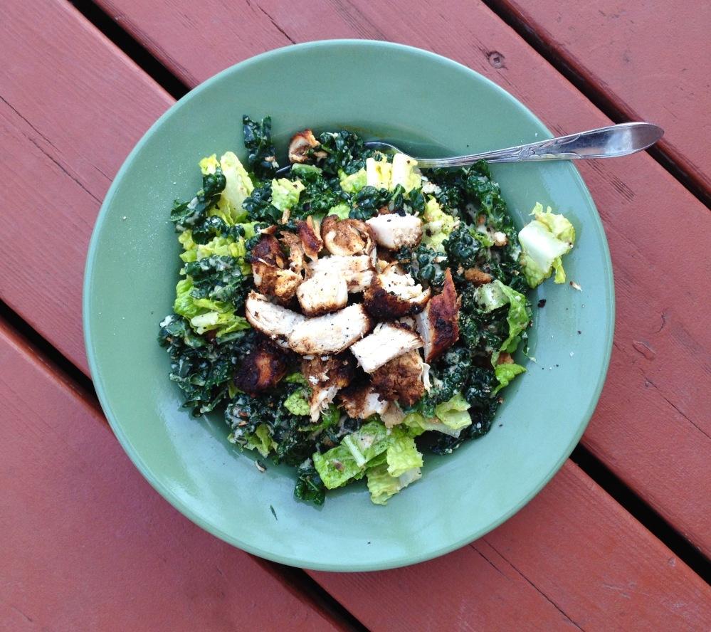 cow crumbs, gluten free, kale salad, caesar salad, gluten free croutons, chicken caesar salad