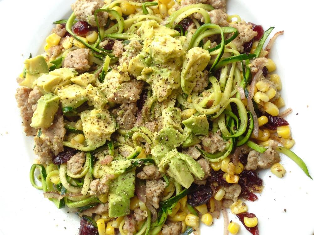 2015-06-04 18.11.08 (1)cow crumbs, gluten free, dairy free, zucchini noodles, corn, avocado, cranberries, zucchini pasta, turkey sausage, paleo pasta