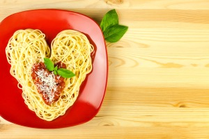 I love Pasta / Spaghetti on a plate and wooden table  / Heart Sh