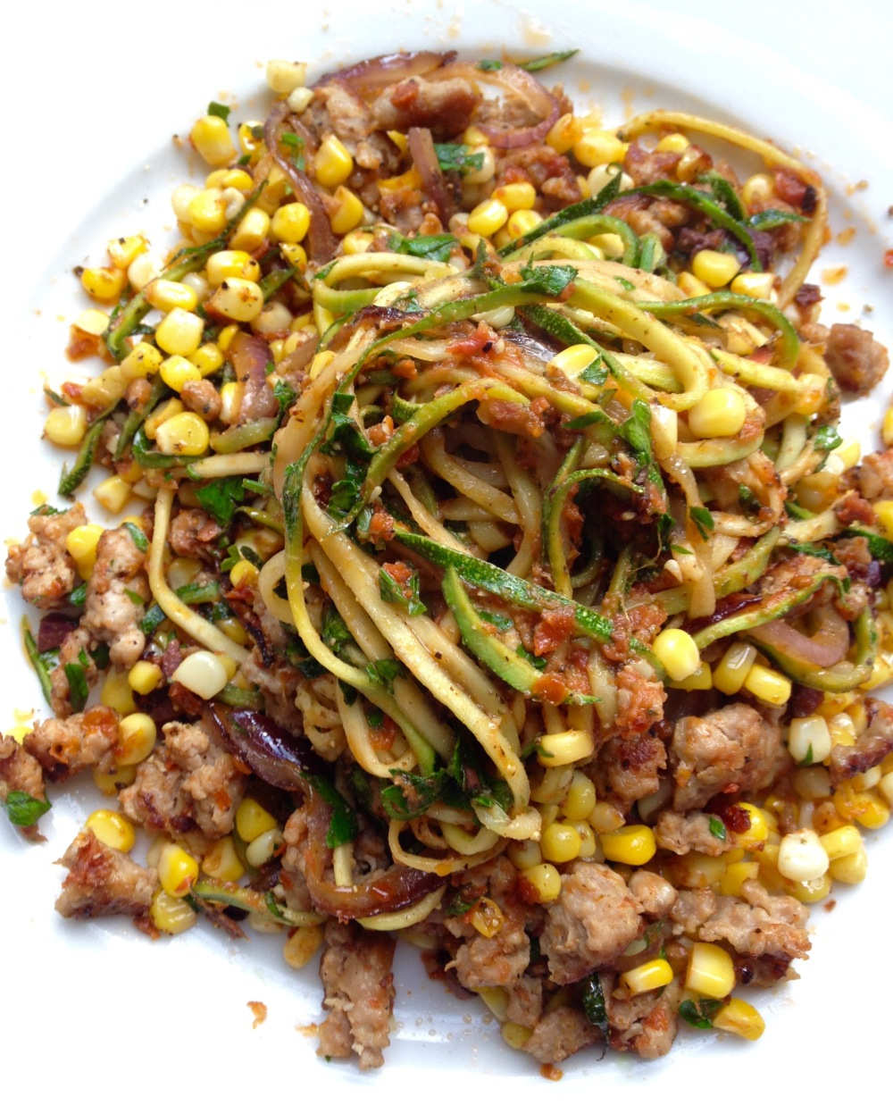 cow crumbs, gluten free, dairy free, paleo, zucchini noodles, sun-dried tomato, sunflower kitchen, pesto, corn