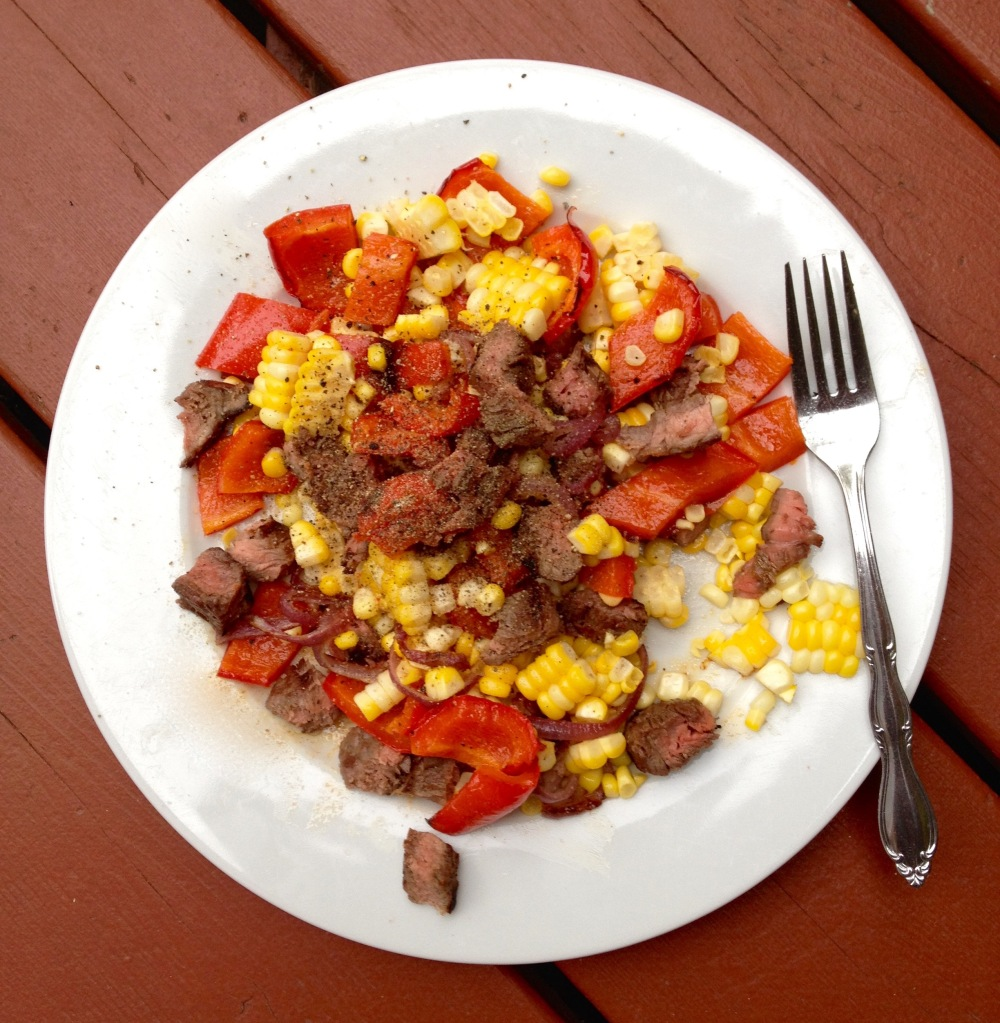cow crumbs, gluten free, dairy free, paleo, steak, roasted red pepper, corn