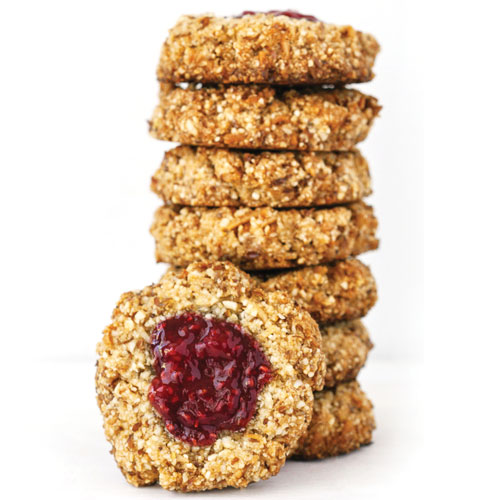 Raspberry Thumbprint Cookies, gluten free, paleo, vegan, almond flour, refined sugar free, cookie, healthy